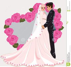 Illustration about Muslim wedding cartoon romance dress face couple gown bride marriage muslim. Engagement Humor, Engagement Couple, Engagement Pictures, Indian Engagement, Country Engagement, Fall Engagement, Foto Wedding, Wedding Pics, Wedding Couples