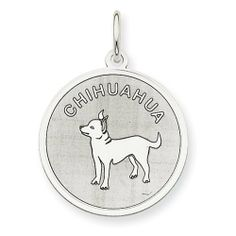Sterling Silver Chihuahua Disc Charm goldia. $21.72