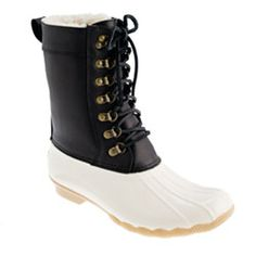 For the no fuss, dresscode black and white kind of girl. Sperry Top-Sider® for J.Crew two-tone tall Shearwater boots