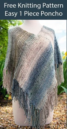 Free Knitting Pattern Muhly Grass Poncho Easy 1 Piece - Easy poncho knit flat in one piece and seamed. Works great with gradient or ombre yarn. Rated easy by Ravelrers. Worsted weight yarn. Designed by AsterFiberCompany. Poncho Knitting Patterns, Knitted Poncho, Loom Knitting, Free Knitting, Knit Patterns, Grass Pattern, Crochet Stitches For Beginners, Ombre Yarn, Aran Weight Yarn