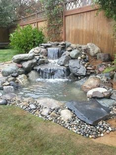 Waterfall Landscaping, Small Front Yard Landscaping, Small Backyard Landscaping, Landscaping Ideas, Backyard Ideas, Pond Waterfall, Backyard Pools, Small Waterfall, Small Backyard Ponds