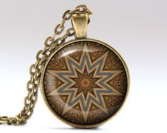Nice Hippie pendant in bronze or silver finish. Awesome Mandala necklace with a chain or a leather cord. Beautiful Indie jewelry.  SIZE: 25 mm (1
