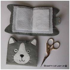 cat needle case needle book needle storage cat by CraftyCatLadyUK