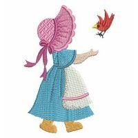 Sunbonnet Sue - Wind Bell Embroidery | OregonPatchWorks Machine Embroidery Projects, Machine Embroidery Applique, Hand Embroidery Designs, Applique Quilts, Bird Embroidery, Jelly Roll Quilt Patterns, Quilt Block Patterns, Applique Patterns, Sunbonnet Sue