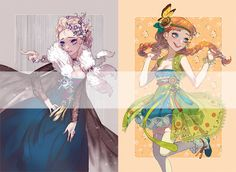 "Elsa and Anna from ""Frozen"" in Korean hanbok - Art by rcbboy.tumblr.com"