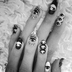 Tribal hipster eyeball nail art Please visit our website @ http://rainbowloomsale.com