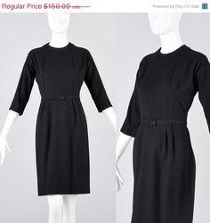 Vintage 50s Black Wool Wiggle Dress by StyleandSalvage
