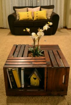 Crate Coffee Table by LKHandmadeGoods on Etsy, $250.00