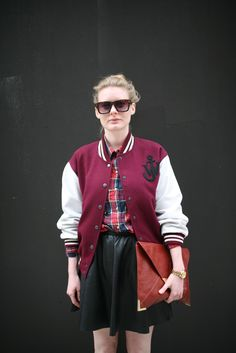 They Are Wearing: London Fashion Week Spring 2013 - WWD.com #LFW #varsity jacket