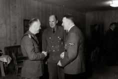 Chief Marshal Ion Antonescu Romania country visited Adolf Hitler at the Wolfsschanze Führerhauptquartier, Rastenburg (East Prussia), dated August 5, 1944. Standing in the middle is Gesandter SS-Standartenführer Paul Otto Schmidt (Hitler's personal translator), while on the right rear glasses are SS-Obergruppenführer Julius Schaub (Chefadjutant des Führers Adolf Hitler). Just three weeks later, Antonescu was toppled from power and Romania declared war against his former allies, Germany!