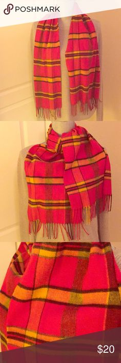 """🆕 Vintage Red Plaid Scarf Vintage Blanket Bright Red Plaid Scarf. Unisex. Red, Gold, & Black. Multi-Colored Fringed Ends. Appears to be 100% Wool or a Wool Blend. No Label. About 52""""L X 11""""W. EUC. No Trades. See Other Great Accessories in My Closet.👌🏽 Accessories Scarves & Wraps"""