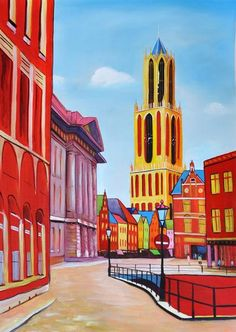 Getting to the Amsterdam Utrecht, Vintage Ski, Vintage Travel Posters, Amsterdam, Happy City, Funny Paintings, Ski Posters, City Painting, Colourful Buildings