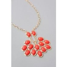 Trina Necklace-Orange - $18.00