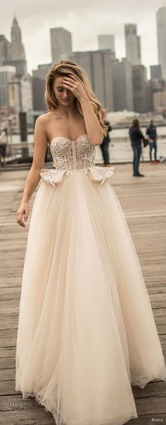 berta spring 2018 bridal strapless sweetheart neckline heavily embellished bodice bustier sexy romantic ball gown wedding dress chapel train (12) mv -- Berta Spring 2018 Wedding Dresses