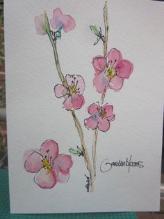 Fruit Trees in Bloom Watercolor Card