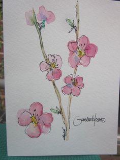 Fruit Trees in Bloom Watercolor Card