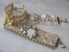 Bridal Cuff Bracelet Shabby n Chic Fabric Cuff by TheRedMagnolia, $44.00