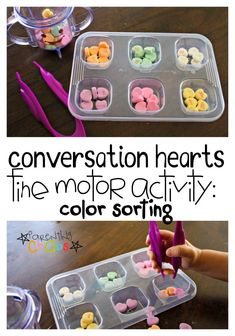 Conversation Hearts Fine Motor Color Sorting Activity for kids
