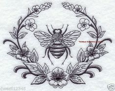 FRENCH LAUREL & NAPOLEONIC BEE - NICE - 2 EMBROIDERED HAND TOWELS by Susan