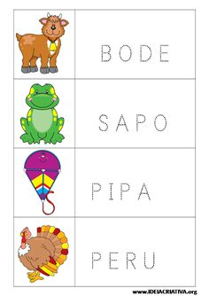 Fichas para imprimir com figuras e palavras pontilhadas Montessori, First Grade, Literacy, Preschool, Geek Stuff, Education, Logos, Kids, Letter B Activities