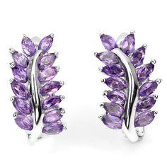 Classy Rich Purple Amethyst Sterling Leaf Earrings