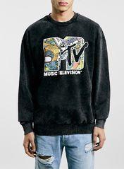 Washed Black MTV Placement Print Oversized Sweatshirt