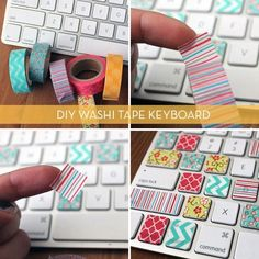 Washi Your Workspace: 8 Quick DIY Projects via Brit + Co. The Washi Tape Keyboard is my favorite! Diy Washi Tape Keyboard, Washi Tape Diy, Keyboard Keys, Keyboard Stickers, Masking Tape, Keyboard Cover, Duct Tape, Computer Keyboard, Washi Tapes
