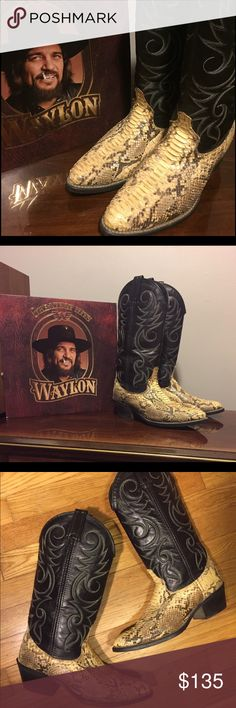 Vintage snakeskin boots Vintage western snakeskin boots. Genuine snake skin . For a true outlaw babe  these are marked as a size 7D (wide) these would best fit a women's size 8 1/2 or 9 I would say. Or someone with a wide foot. Let me know if you have any questions! Vintage Shoes