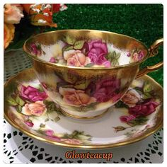 Royal Chelsea Golden Rose teacup and saucer