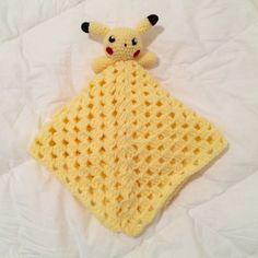 Crochet Pikachu Pokemon Inspired Baby Lovey Blanket by PikaPlanet