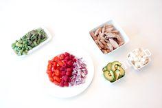 salad: asparagus, avacado, feta, tomato, raspberries, red onion, pork