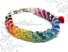 Pulsera de Swarovski arco iris del espectro twisty por candybead