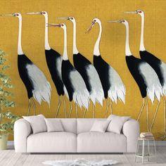 Crane Birds Peel and Stick Animal Wallpaper Trending Yellow Black Sharp Shirter - Smooth Wall Decal / 1 roll: 24W x 96H