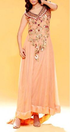 Pink Embroidered Crinkle Chiffon Party Special Dress