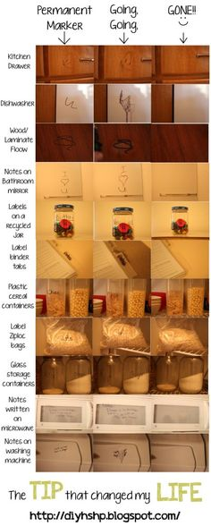 Erase permanent marker. Use it to organize your pantry. Leave notes on bathroom mirror, microwave, ect... and even use it in your planner!! Label binder tabs and change them when needed or laminate paper to write your 'to do' list on. Once everything on the list is done just erase it and make another list instead of wasting paper.