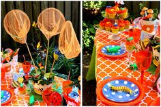bug party with candy/play bugs hidden around the house and kids given bug catchers
