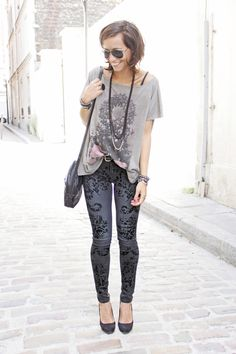 Love those printed jeans.  On my purchase list.