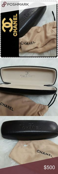 Chanel Designer Eyeglasses Case & Cloth Chanel Designer Eyeglasses Case and Cloth in Dark Brown Shade, Minor Wear Exterior, Interior is Perfect, Minor White Stain on Cloth, Overall Good Condition! CHANEL Accessories
