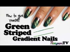 Easy Nail Art Tutorial for Green Gradient Using Nail Tape