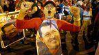 Hugo Chavez celebrates re-election in Venezuela