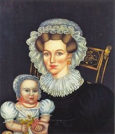Noah North (American painter, 1809-1880) Gracie Beardsley Jefferson Jackman and Her Daughter c 1835