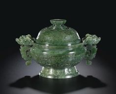 A SPINACH-JADE ARCHAISTIC CENSER AND COVER QING DYNASTY, 18TH / 19TH CENTURY