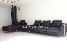 Max2917 - Black Leather L-Shape Sofa with Coffee Table