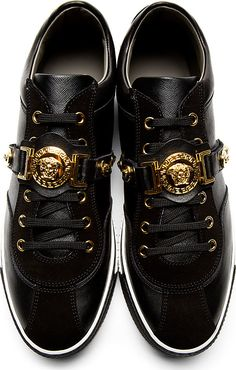 Versace: Black Leather Medusa Sneakers Check out my blog www.abdelicious.com