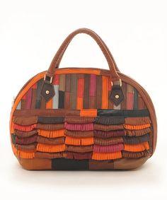 Look at this #zulilyfind! Brown Patchwork Fringe Leather Satchel by Chancebanda #zulilyfinds
