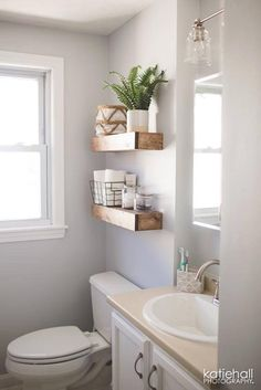 Brilliant DIY Bathroom Shelf Ideas Sure To Redefine Savvy Storage - The Trending House Kitchen Shelves, Bathroom Shelves, Bathroom Storage, Bathroom Organization, Organization Ideas, Bathroom Beadboard, Bathroom Canvas, College Organization, Bathroom Cabinets