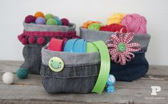 Make baskets of worn out jeans.Cute!