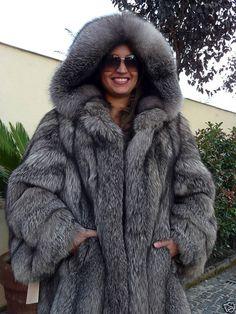 hooded silver fox fur parka