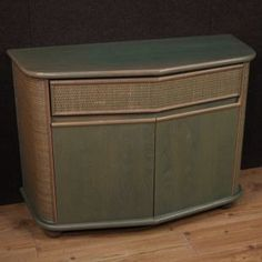 Italian design sideboard from the Exotic wood furniture adorned with woven wood on the sides and on the front of the drawer Italian Furniture, Painted Furniture, Credenza, Sideboard Cabinet, Antique Market, Wooden Tops, Beautiful Lines, Outdoor Furniture, Outdoor Decor