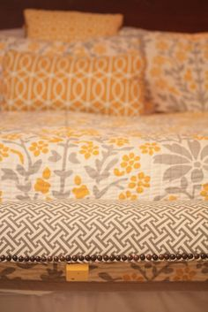 orange, yellow and grey- grey + white bedding (love this even for a girl who doesn't like orange or yellow)